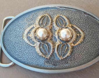 Gold and Pearl Vintage Metal Belt Buckle