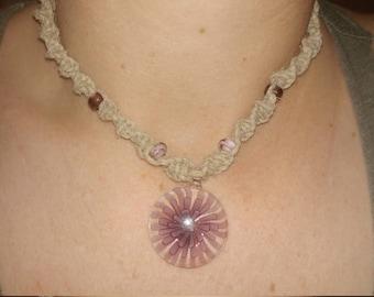 Glass purple flower pendant hemp necklace!