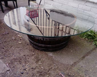 Rustic half whiskey barrel coffee table