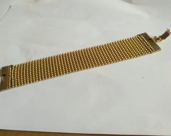 Vintage 17cm Gold Tone Metal Watch Strap Style Bracelet