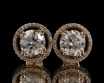 3.51 ctw Round Brilliant Diamond Earrings