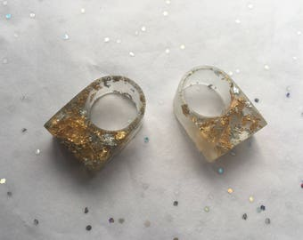 Chunky Resin Ring Gold & SilverLeaf