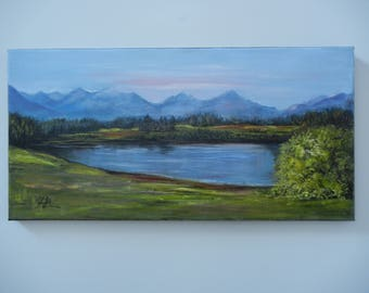Original Oil Painting. Lake. Mountains.  Landscape. Oil on Linen. 12x24 in