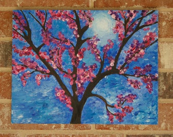 Cherry Blossom Tree. Acrylic painting on canvas.
