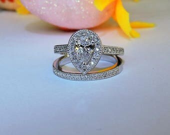 Art Deco Engagement Ring Set, Silver Wedding and Bridal Ring Set.