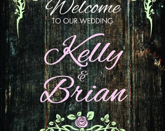 Wedding Welcome Sign, Wood looking with flowers