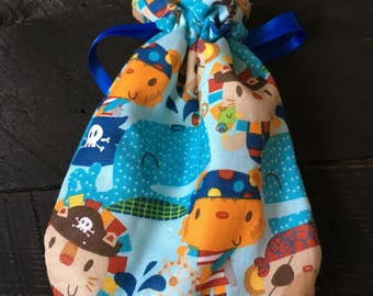 Bag pirate backpack for teat or washcloth for baby animals
