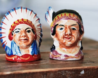 Vintage Native American Salt and Pepper Shakers Hand Painted Amazing!!!