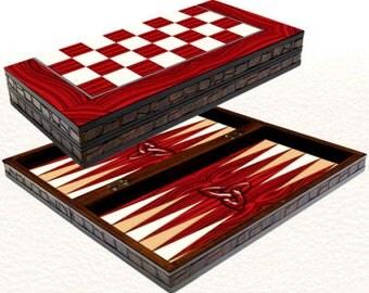 "Backgammon set travel foldable family board game set with Yenigun red elegance design 20"""