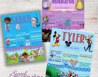 Disney Junior Birthday Milestone Poster, Mickey Mouse Clubhouse, Doc McStuffins, Sofia the First