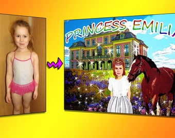 Personalized photo poster, your girl as a princess
