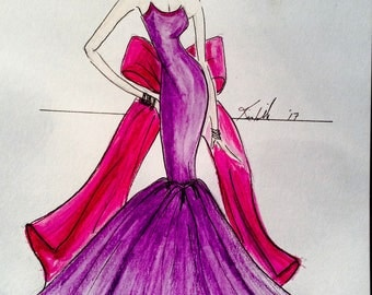 High Fashion Illustration Women in a Fushia Ball Gown