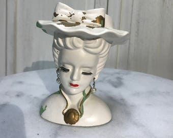 vintage head vase, original earrings, desk accessory, tea party centerpiece, make up brush holder…..so perfectly vintage
