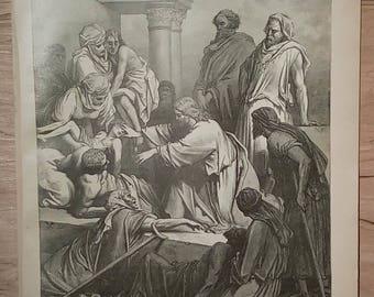 Jesus Healing the Sick - Vintage Bible Lithograph Print