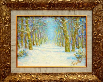 """Original oil painting winter countryside framed ready to hang landscape 13 * 15.5"""" classical fine art artwork wall home decor snow alley"""
