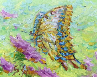 MINI oil painting Original artwork swallowtail butterfly bue fine art summer wall home Living Room Bedroom Nursey Hall Kitchen Decor