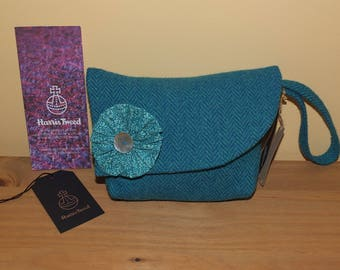 "Seaspray Harris Tweed clutch handbag with Liberty of London ""Tom Daley"" cotton lining"