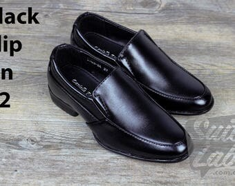 Boys Formal Wedding Black Slip On Shoes - Wedding, Church, Formal, Communion Shoes