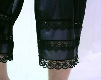 Black Satin Nylon Lace Trim Culottes Pettipants