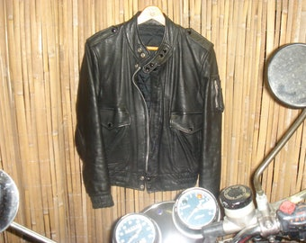 Old school biker leather jacket in excellent condition