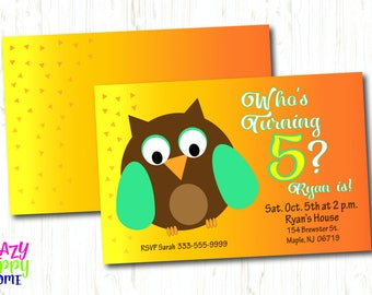Kid's Birthday Printable Invitation, Customized Birthday Invitation, Owl Birthday Invite- Who's Turning 5? (6, 7, 8, 9)