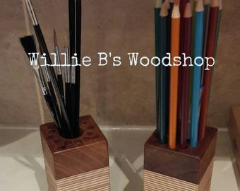 Hardwood artists organiser / stationary holder