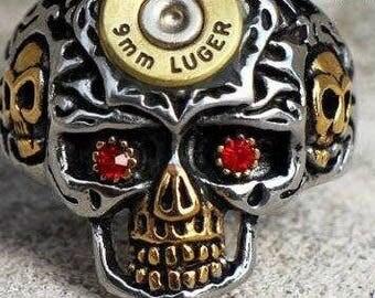 Red Eyed Skull 9mm Luger