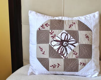 Unique, Quilted, Colorful, Decorative pillow case in white and beige with Flower detail