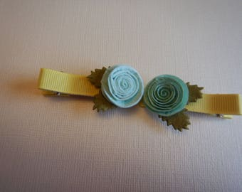 Matching Blue Rose Hair Bows