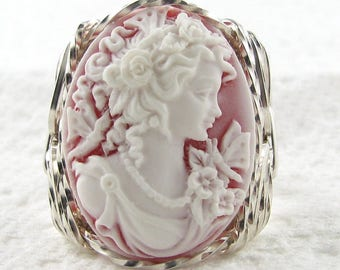 New Vintage Red Cameo Goddess Butterfly .925 Sterling Silver Ring