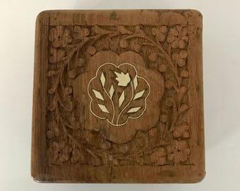 Vintage carved wood box - hinged lid - floral design - square wood box