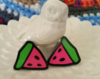 Juicy Watermelon stud earrings -handmade