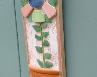 Driftwood, sea glass and sea pottery flower and vase
