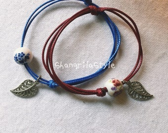 Floral and leafy Chinese Style Ceramic bracelet