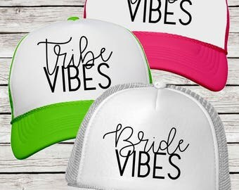 Bride Vibes and Tribe Vibes Neon Trucker Hats, Bachelorette Party Trucker Caps Bride or Tribe Vibes Neon Party Hats