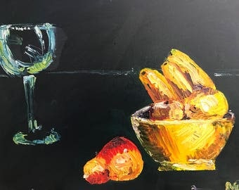 Wine Glass and Bowl of Fruit