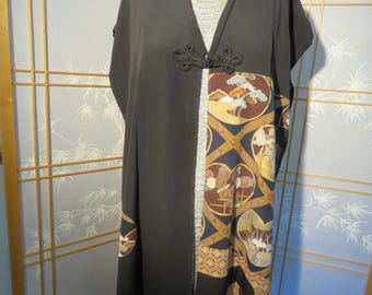 Ruana - Made out of vintage formal silk kimono
