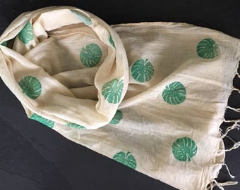 Tropical print scarf, summer scarf, organic cotton