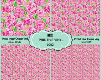 Lilly P Inspired Rose Bloom Pattern Printed Vinyl, Siser HTV , Oracal 631-651, Indoor Vinyl, Outdoor Vinyl, Heat Transfer Vinyl- L002