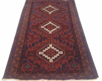 Amazing Hand Knotted Afghan Balouch Herati Carpet Area Rug 7x4 ft
