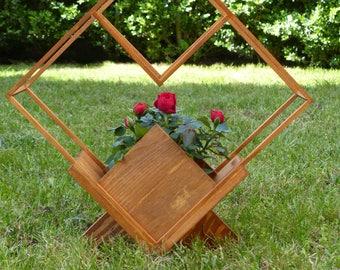 Dekoobjekt for flowers, handmade, teak, pine, decoration