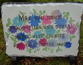 Dragonflies & Stars Quote On Slate Hand Made Original Design