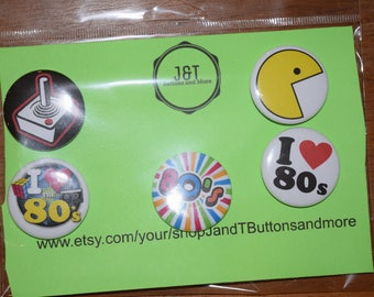 5 Pack of 80's 1.5 Pin-back Buttons
