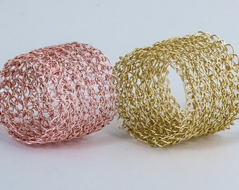 Wide rose gold ring , Statement Ring ,Wire Crochet BAND RING , Unique Ring