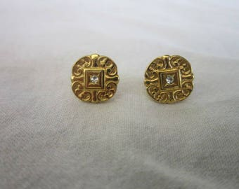 Victorian Style Gold Filled & Rhinestone Fancy Embossed Pierced Earrings