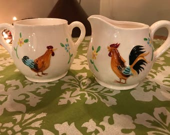 Chicken / Rooster Creamer & Sugar Bowl