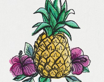Dish Towel, Tea Towel, Fruit Towel, Kitchen Hand Towel, Hostess Gift, House Warming Gift, Embroidered Kitchen Decor, Summer, Pineapple
