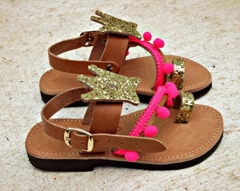 Princess outfits-Pink sandals-GOLD CROWN-Greek leather girls sandals-Kids summer shoes-Princess shoes-Pom Pom sandals-Girls sandals-