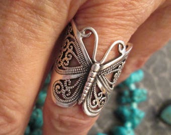 Sterling Silver BUTTERFLY Ring> Intricate Filigree Design>>Elegant>>Wraps around your finger like a band>> Different!