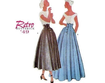Sewing Pattern Butterick 6702.  Retro '49 High Waisted Skirt pattern with scalloped waist, full length or tea length skirt.  sizes 6-8-10